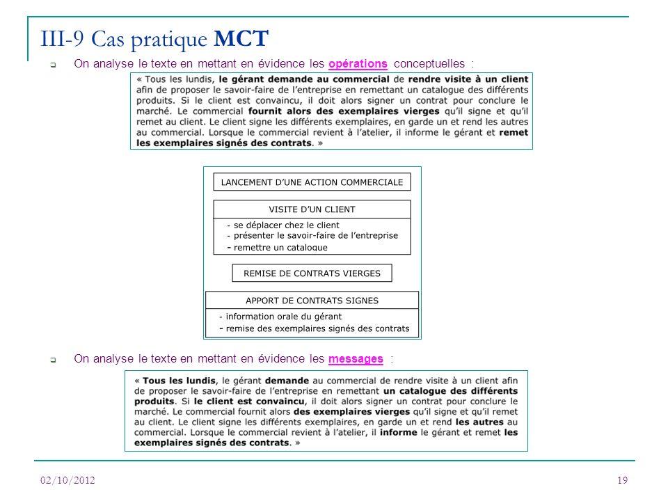 III-9 Cas pratique MCT On analyse le texte en mettant en évidence les opérations conceptuelles :