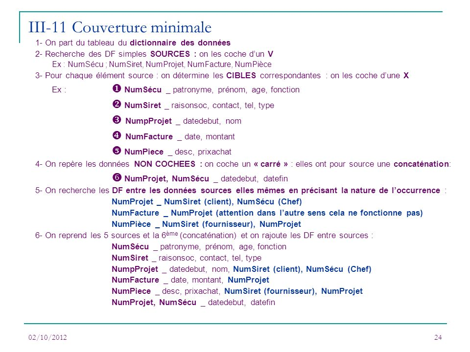 III-11 Couverture minimale