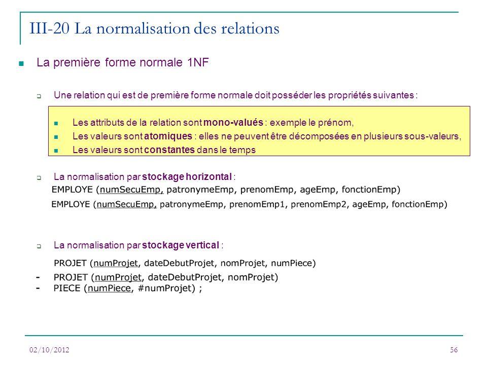 III-20 La normalisation des relations