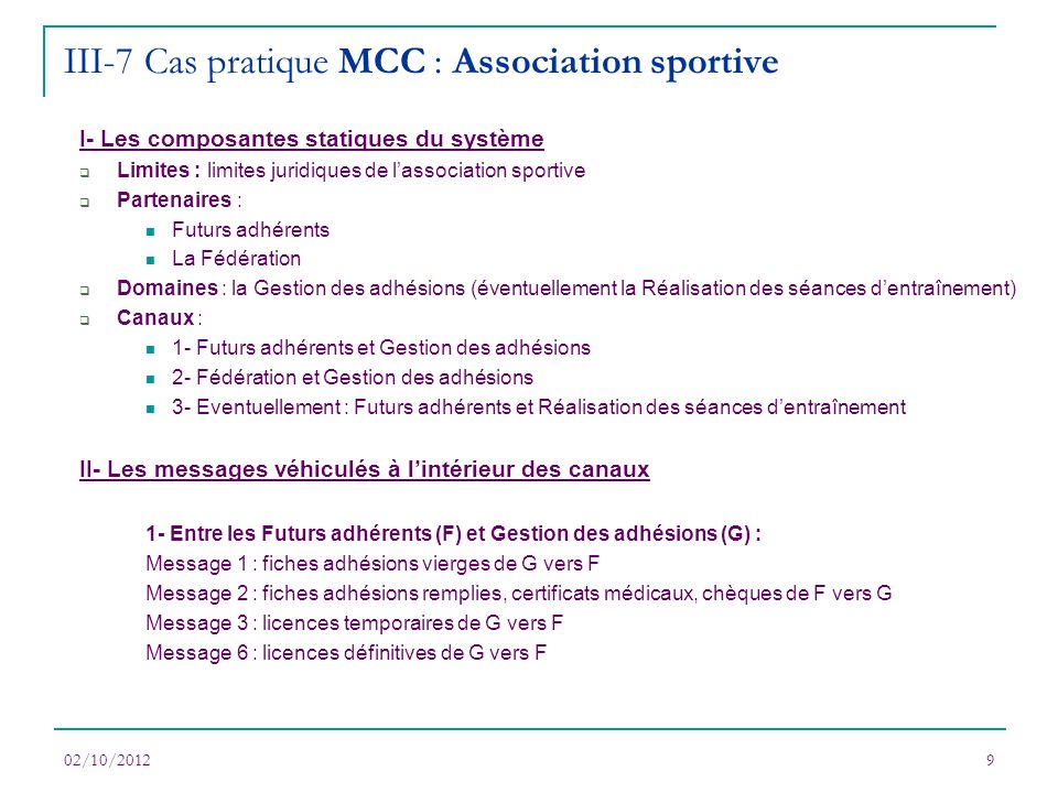 III-7 Cas pratique MCC : Association sportive