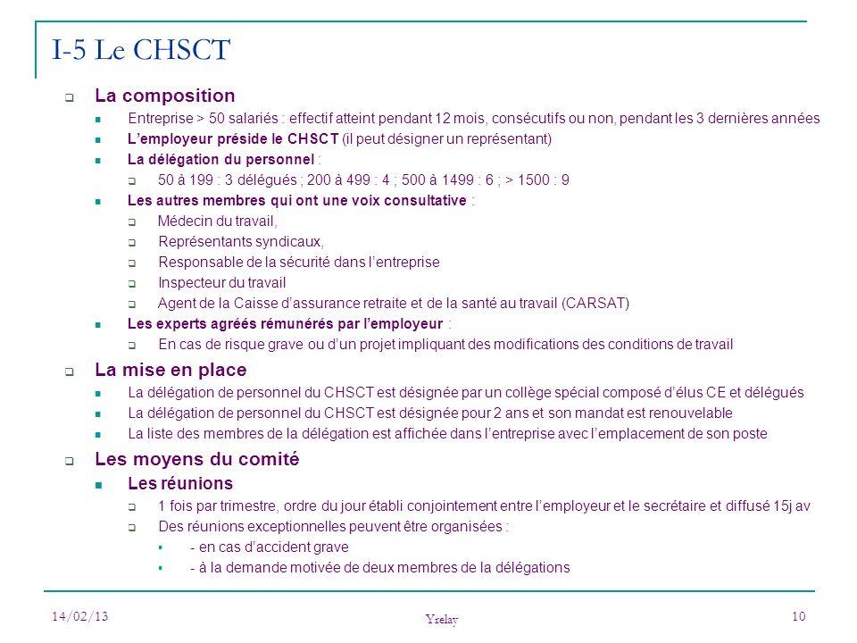 I-5 Le CHSCT La composition La mise en place Les moyens du comité