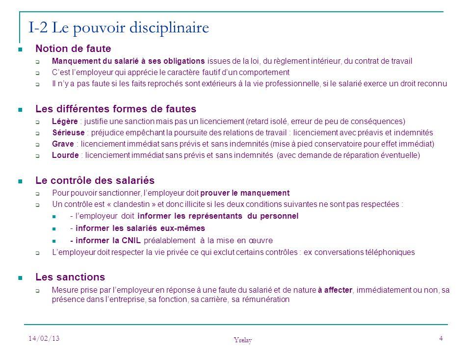 I-2 Le pouvoir disciplinaire