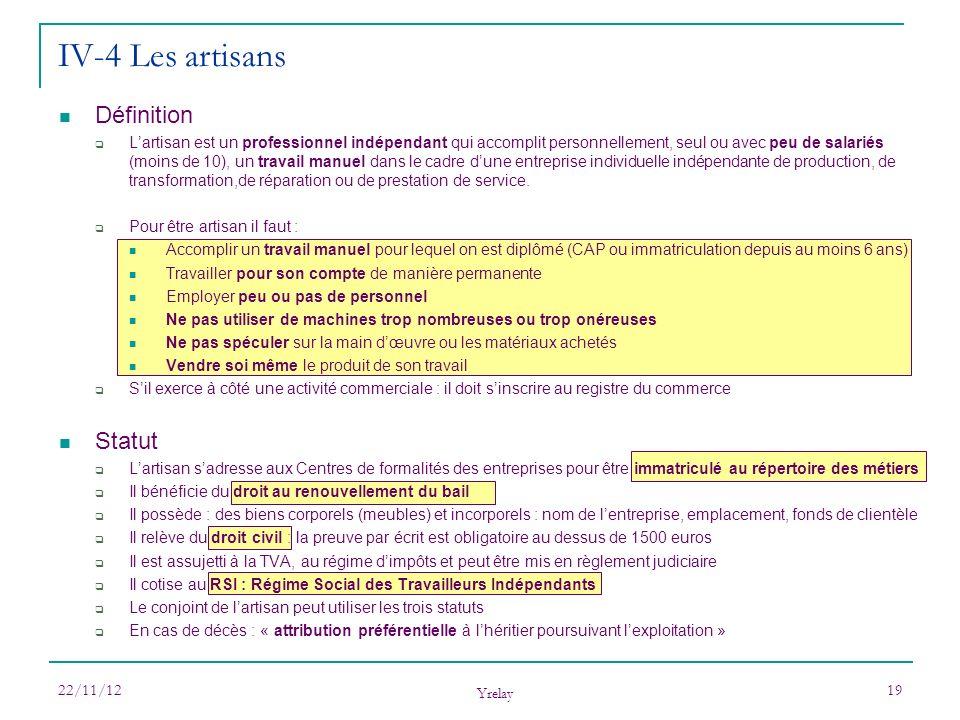IV-4 Les artisans Définition Statut