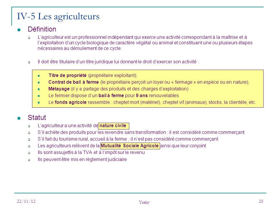 IV-5 Les agriculteurs Définition Statut
