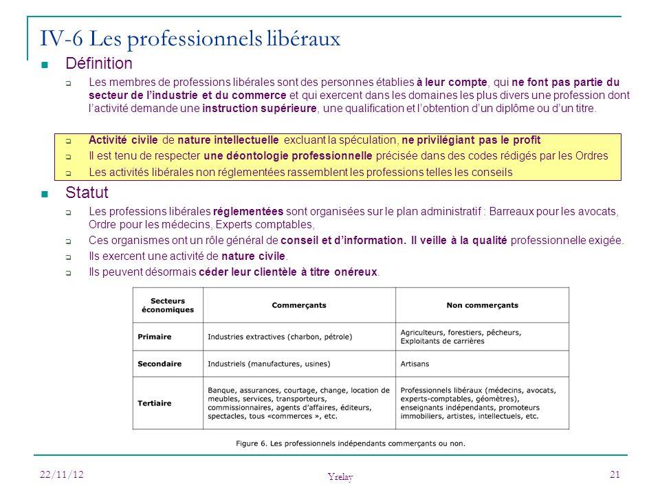 IV-6 Les professionnels libéraux