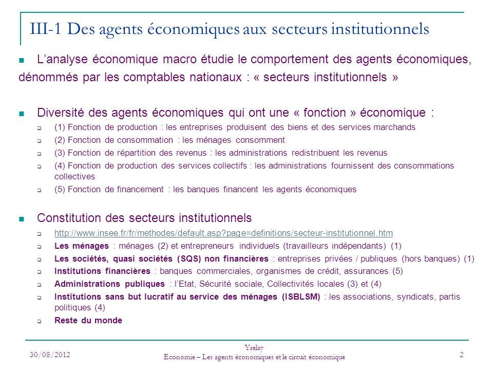 III-1 Des agents économiques aux secteurs institutionnels