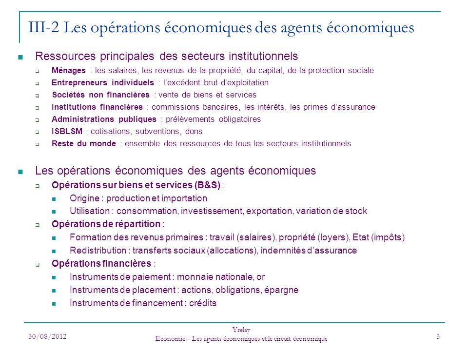 III-2 Les opérations économiques des agents économiques