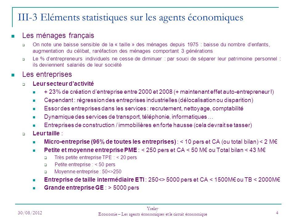 III-3 Eléments statistiques sur les agents économiques