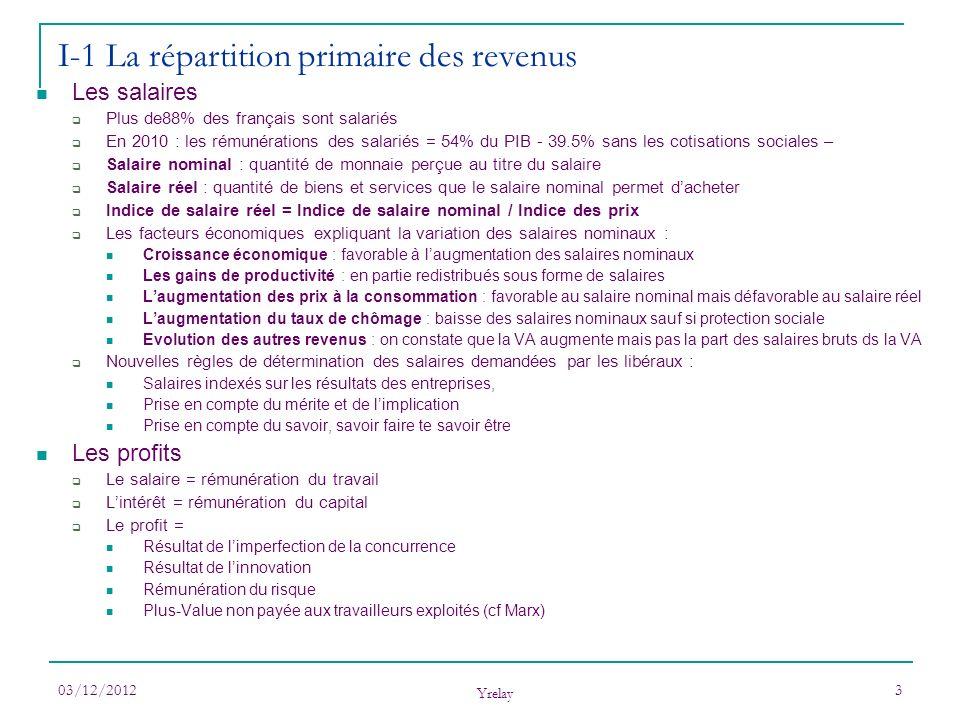 I-1 La répartition primaire des revenus