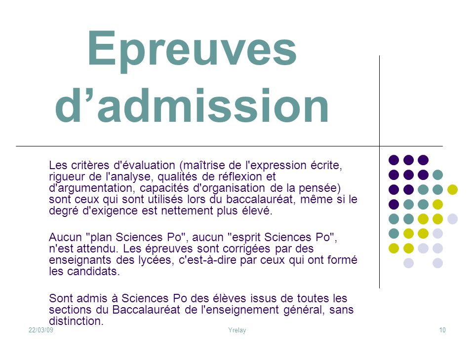 Epreuves d'admission