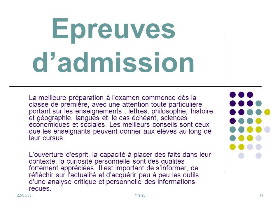 Epreuves d'admission