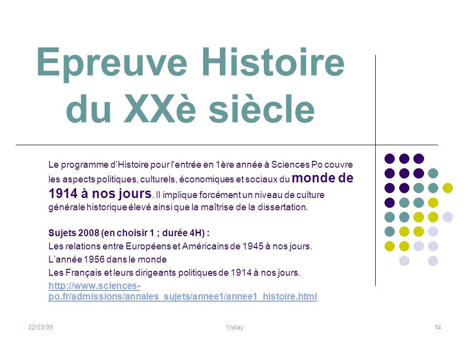 Epreuve Histoire du XXè siècle