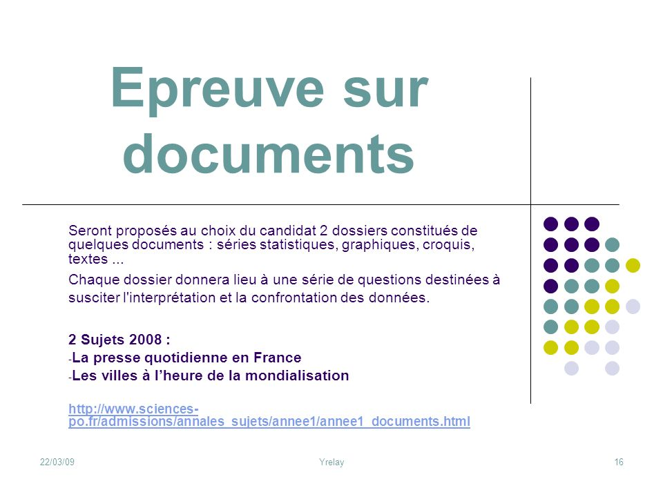 Epreuve sur documents