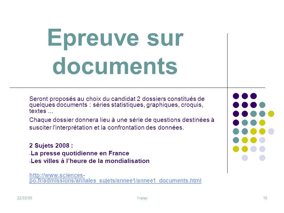Epreuve sur documents