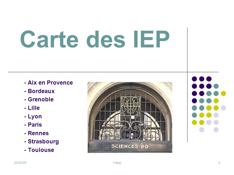 Carte des IEP - Aix en Provence - Bordeaux - Grenoble - Lille - Lyon