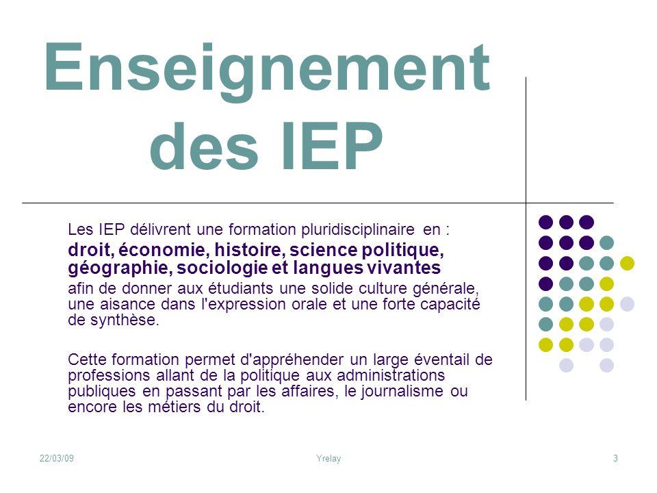 Enseignement des IEP Les IEP délivrent une formation pluridisciplinaire en :
