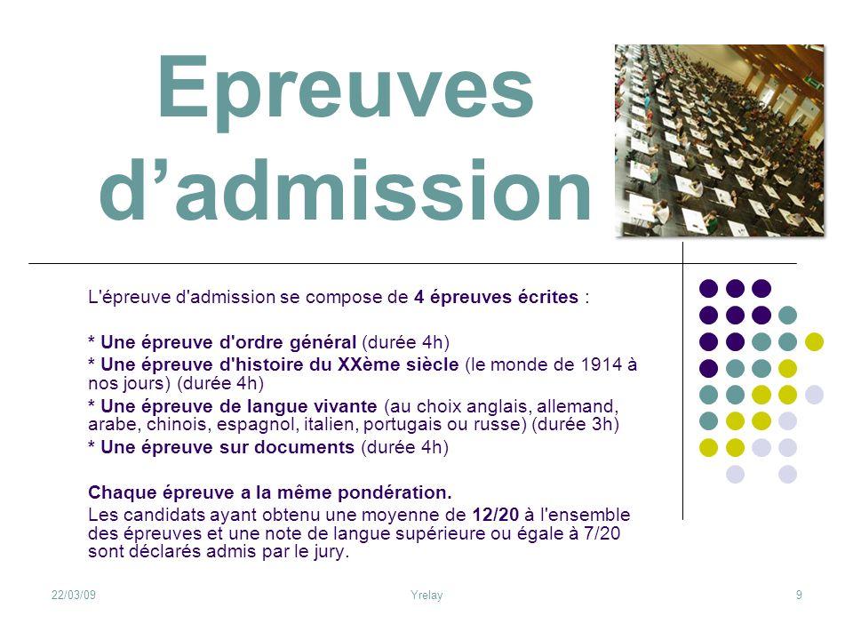 Epreuves d'admission L épreuve d admission se compose de 4 épreuves écrites : * Une épreuve d ordre général (durée 4h)