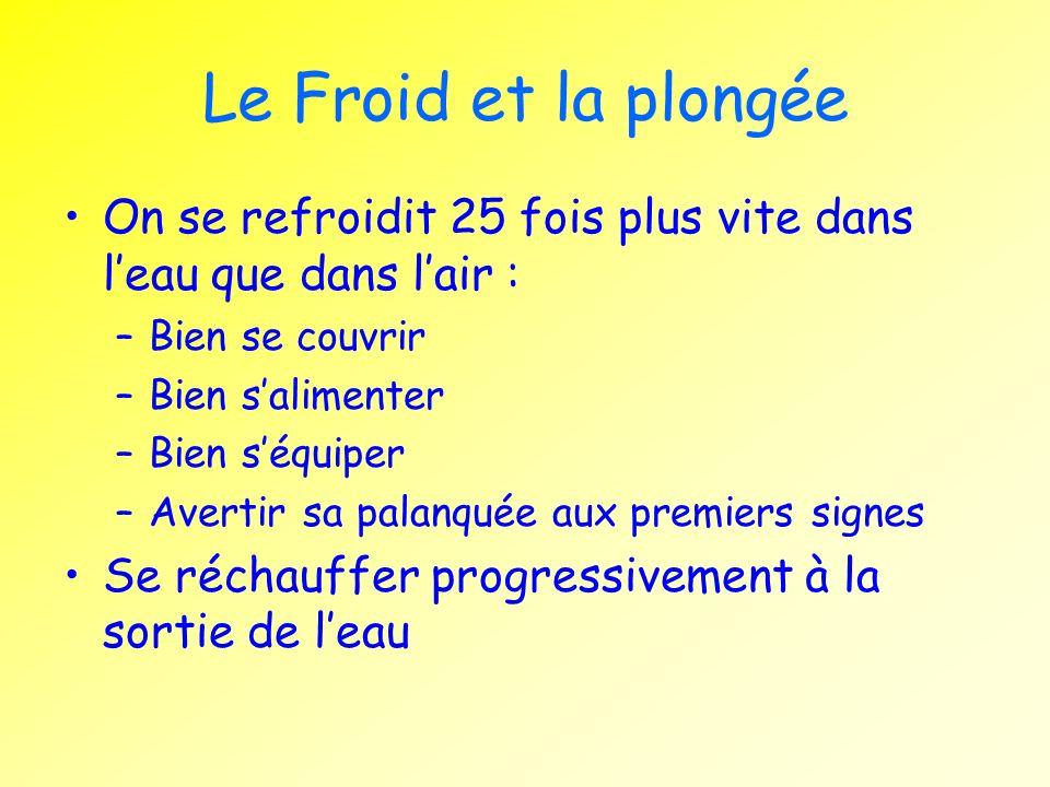 Le Froid et la plongéeOn se refroidit 25 fois plus vite dans l'eau que dans l'air : Bien se couvrir.