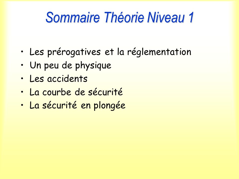Sommaire Théorie Niveau 1