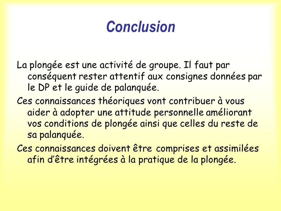 Conclusion La plongée est une activité de groupe. Il faut par conséquent rester attentif aux consignes données par le DP et le guide de palanquée.