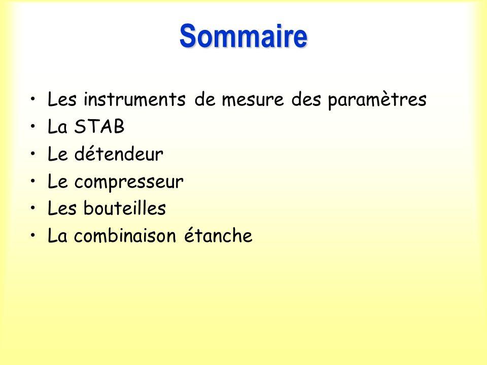 Sommaire Les instruments de mesure des paramètres La STAB Le détendeur