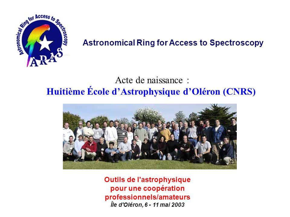 Acte de naissance : Huitième École d'Astrophysique d'Oléron (CNRS)