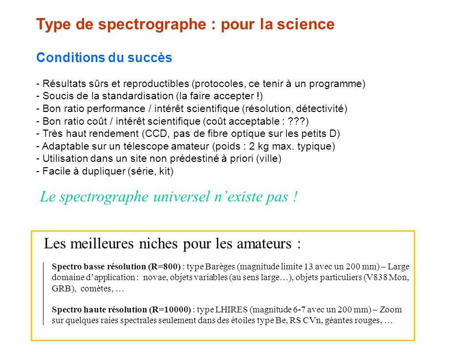Type de spectrographe : pour la science