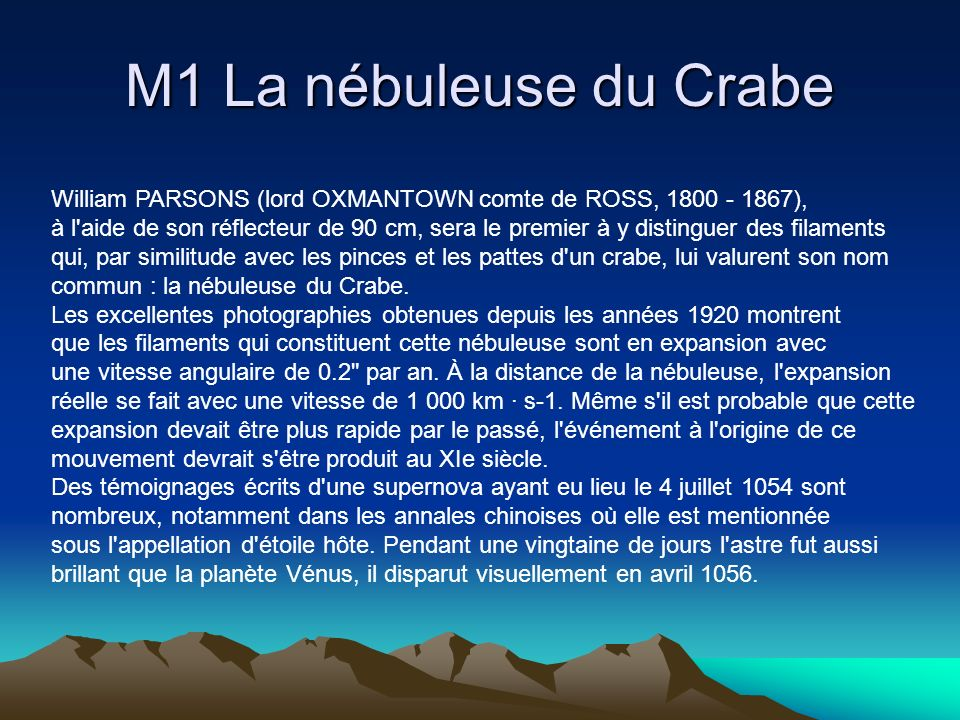 M1 La nébuleuse du Crabe William PARSONS (lord OXMANTOWN comte de ROSS, ),