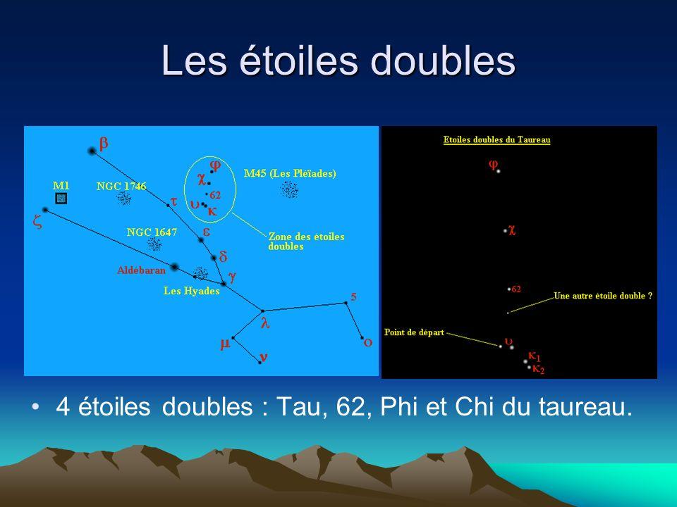 Les étoiles doubles 4 étoiles doubles : Tau, 62, Phi et Chi du taureau.