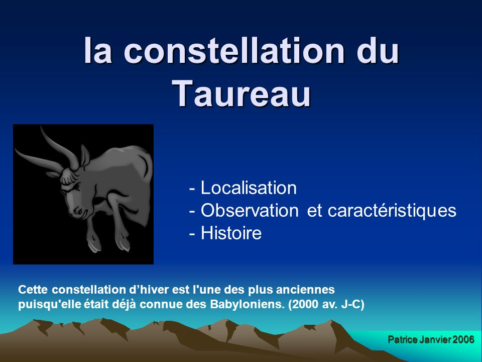 la constellation du Taureau