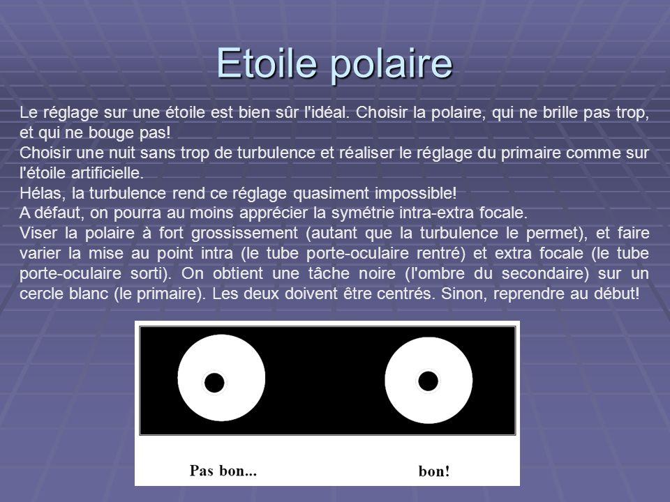 Etoile polaireLe réglage sur une étoile est bien sûr l idéal. Choisir la polaire, qui ne brille pas trop, et qui ne bouge pas!