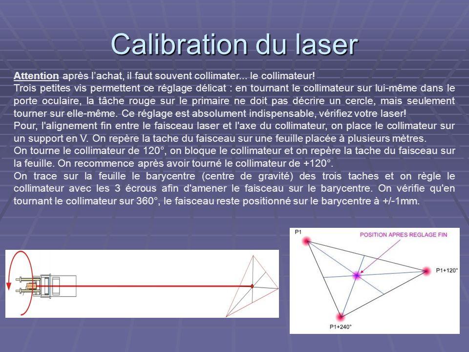 Calibration du laser Attention après l'achat, il faut souvent collimater... le collimateur!