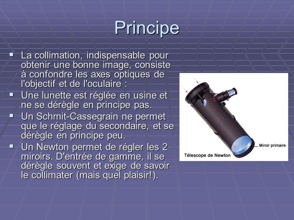 Principe La collimation, indispensable pour obtenir une bonne image, consiste à confondre les axes optiques de l objectif et de l oculaire :