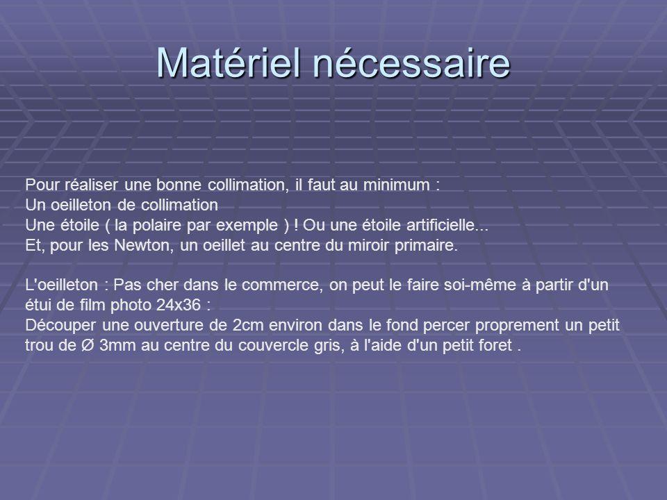 Matériel nécessairePour réaliser une bonne collimation, il faut au minimum : Un oeilleton de collimation.