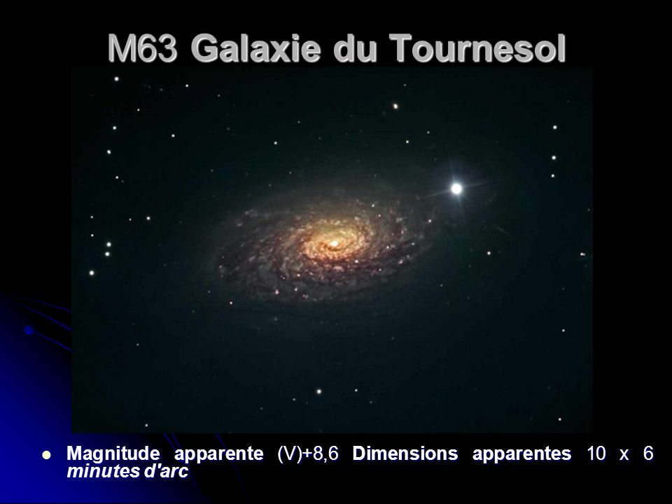 M63 Galaxie du Tournesol Magnitude apparente (V)+8,6 Dimensions apparentes 10 x 6 minutes d arc