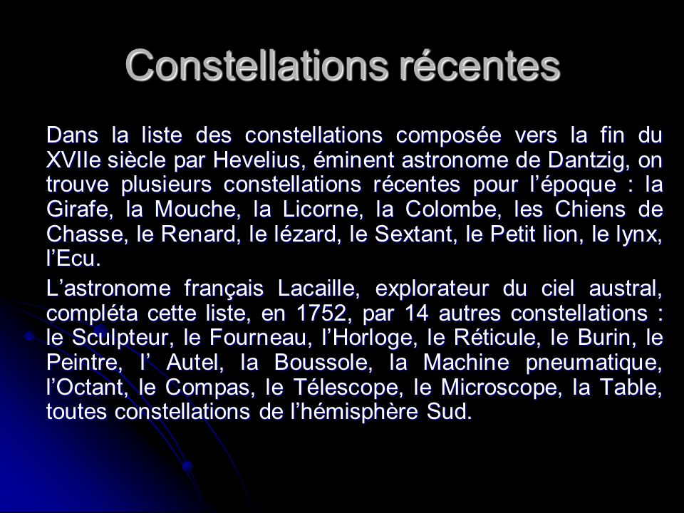Constellations récentes