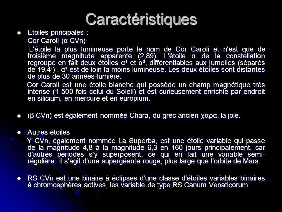 Caractéristiques Étoiles principales : Cor Caroli (α CVn)