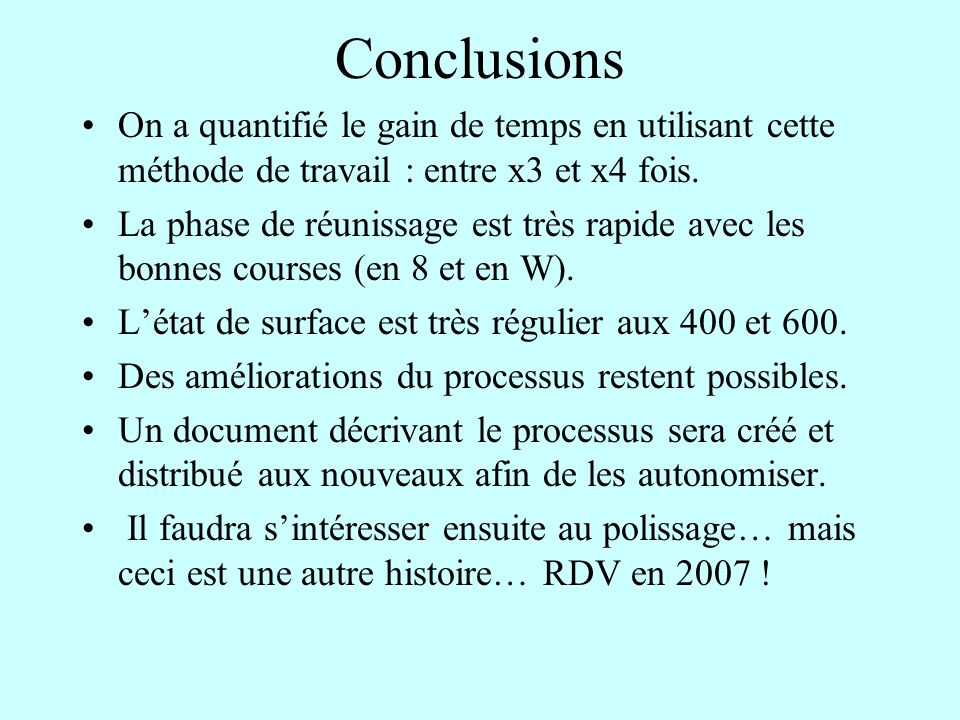 Conclusions On a quantifié le gain de temps en utilisant cette méthode de travail : entre x3 et x4 fois.