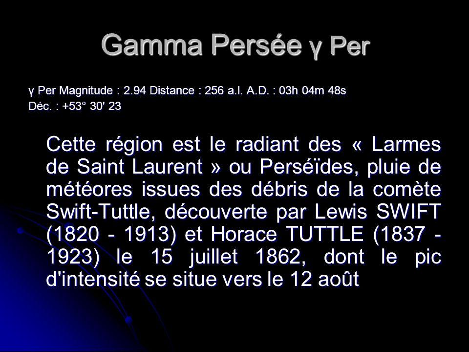 Gamma Persée γ Per γ Per Magnitude : 2.94 Distance : 256 a.l. A.D. : 03h 04m 48s. Déc. : +53° 30 23.