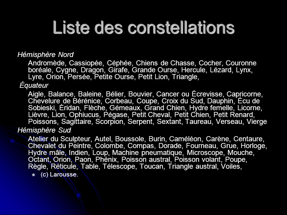 Liste des constellations