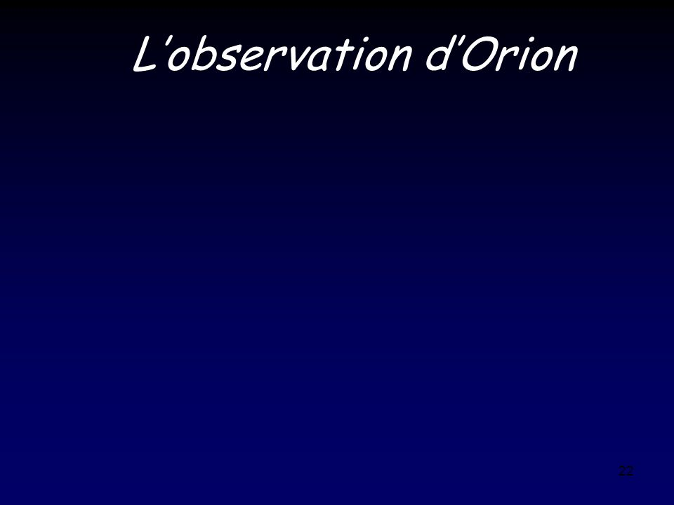 L'observation d'Orion