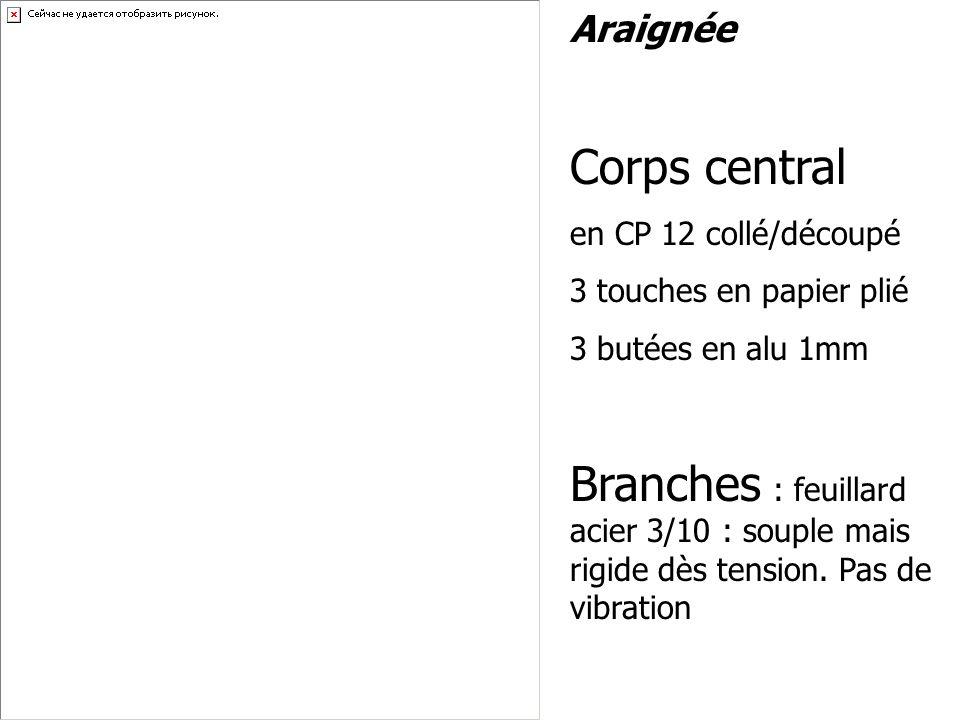 Araignée Corps central. en CP 12 collé/découpé. 3 touches en papier plié. 3 butées en alu 1mm.