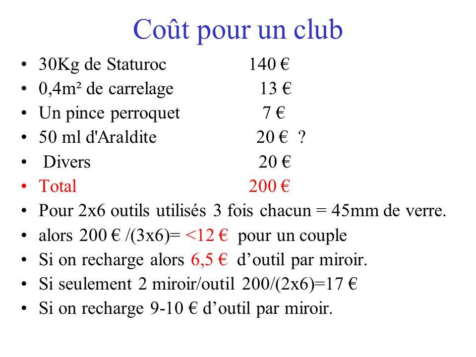 Coût pour un club 30Kg de Staturoc 140 € 0,4m² de carrelage 13 €