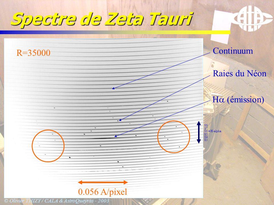 Spectre de Zeta Tauri Continuum R=35000 Raies du Néon Ha (émission)