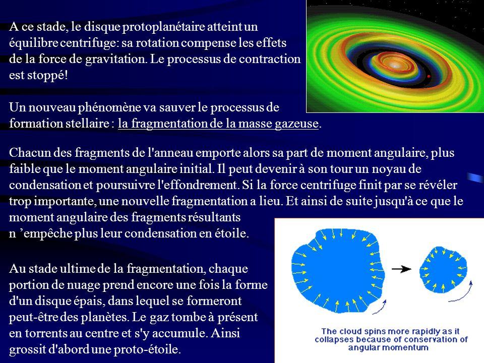 A ce stade, le disque protoplanétaire atteint un équilibre centrifuge: sa rotation compense les effets de la force de gravitation. Le processus de contraction est stoppé!
