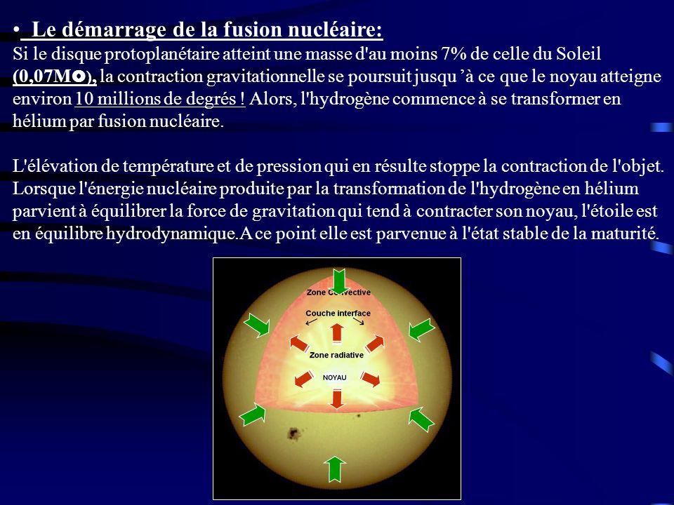 Le démarrage de la fusion nucléaire: Si le disque protoplanétaire atteint une masse d au moins 7% de celle du Soleil (0,07M), la contraction gravitationnelle se poursuit jusqu 'à ce que le noyau atteigne environ 10 millions de degrés ! Alors, l hydrogène commence à se transformer en hélium par fusion nucléaire.