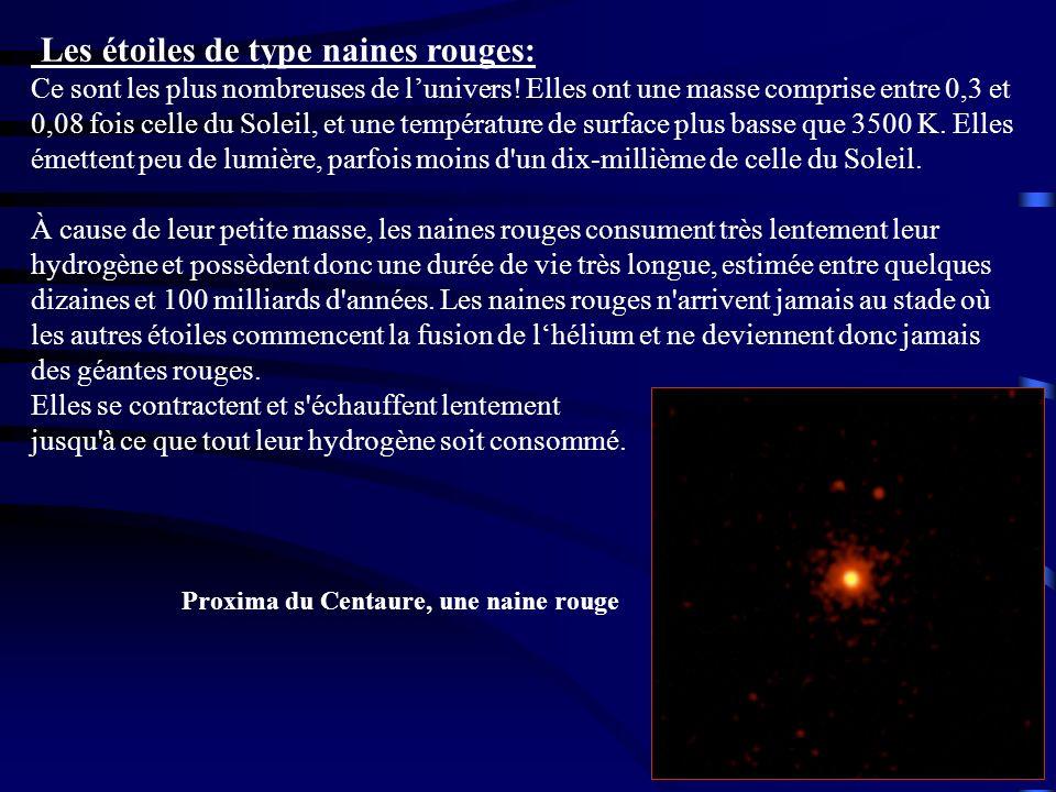 Les étoiles de type naines rouges: Ce sont les plus nombreuses de l'univers! Elles ont une masse comprise entre 0,3 et 0,08 fois celle du Soleil, et une température de surface plus basse que 3500 K. Elles émettent peu de lumière, parfois moins d un dix-millième de celle du Soleil.