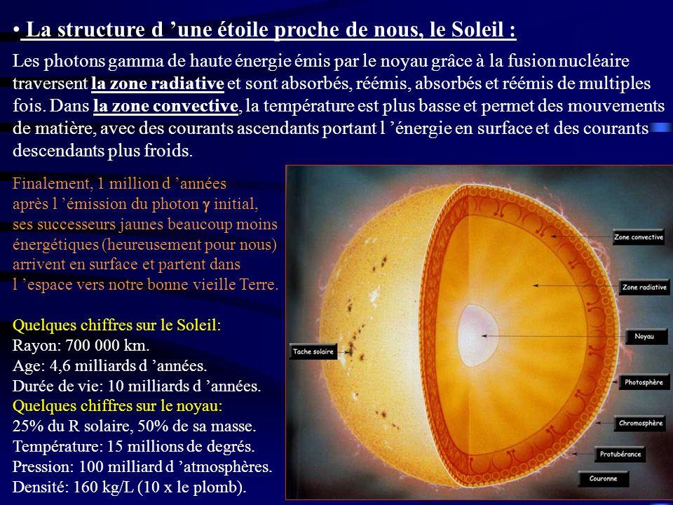 La structure d 'une étoile proche de nous, le Soleil :