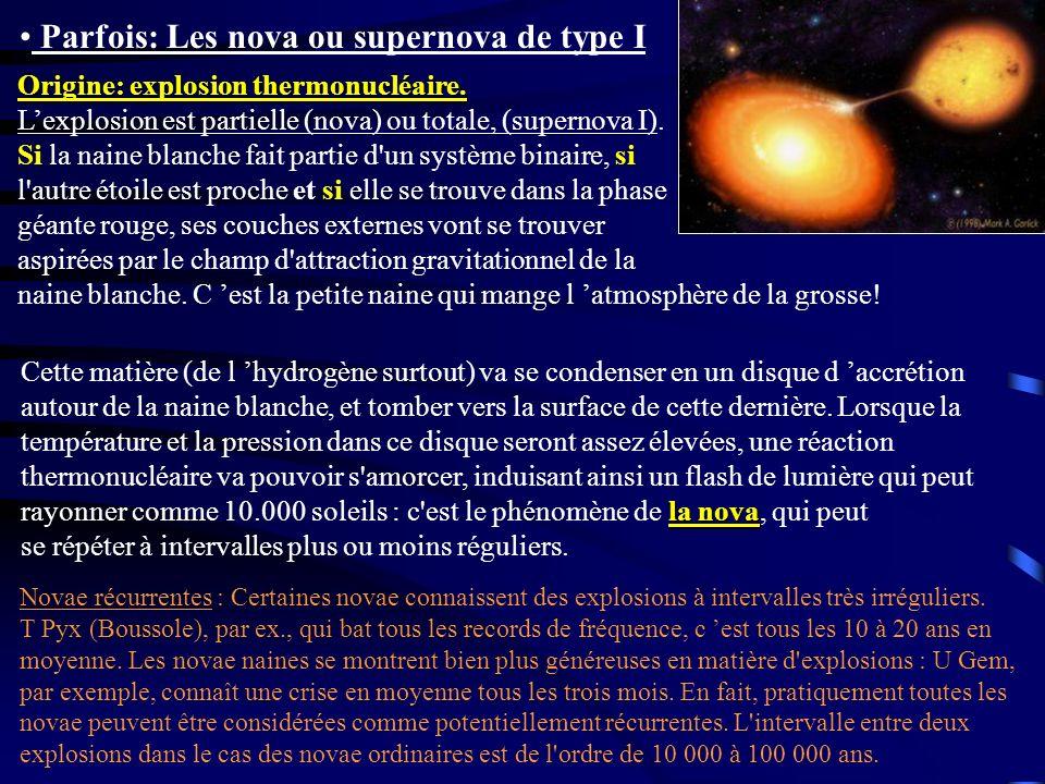 Parfois: Les nova ou supernova de type I