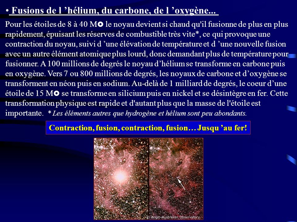 Fusions de l 'hélium, du carbone, de l 'oxygène...